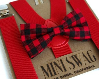 Buffalo Plaid Baby Bow Tie Suspenders, Boys Valentine's Outfit, Red Suspenders, Holiday Outfits Boys, Valentine's Bow Tie, Toddler Bow Tie
