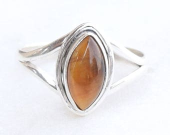 Tiger Eye Ring, Handmade Ring, Silver Ring, Solid Sterling Silver, Hammered Ring, Tiger Eye Stone Ring, Tiger Eye Jewellery