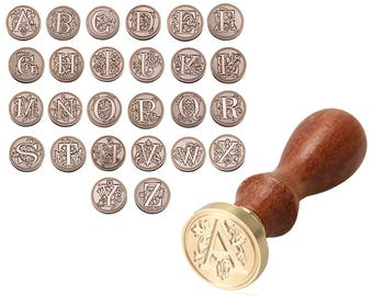 A-Z Initial Letter Wax Seal Stamp Alphabets - Classic Wood Wax Stamping - Wedding Invitations Envelope Sealing Wax Stamp Capital Letters