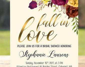 Fall Bridal Shower Invitation Fall in Love Printable Digital Wedding Invitate Marsala Burgundy Bridal Shower Boho Wedding Fall Invite BS-027