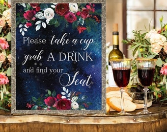 Take a cup Wedding Sign Christmas Winter New Year Snow White Red Burgundy Floral Wedding Printable Decor Gifts Poster Sign 8x10 WS-050