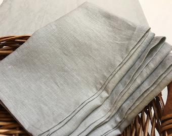 Linen napkins set of 4,6. Pale greenish grey linen dinner napkins. Wedding linen napkins,