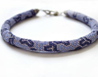 Bead crochet necklace, Bead crochet rope, Beaded jewelry, Statement necklace, Crochet, Blue, Necklace with bead, Gift