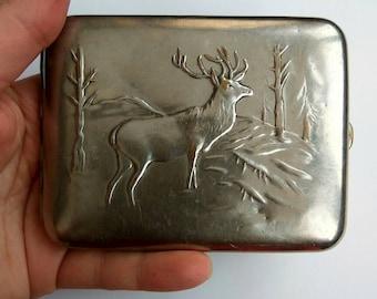 Silver cigarette case Deer Cigarette case Vintage Soviet Cigarette Case Metal card holder USSR Cigarette Box  Card Holder Metal Wallet Deer
