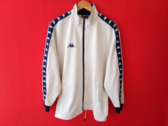 Sale!! Vintage Kappa Jacket Jaspo Big Logo Fully Zipper Stripe Logo Hip Hop Sport Size Large iVnFQ