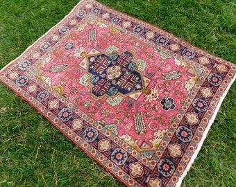 Antique vintage Persian rug 3x5 pink, gold, teal, navy