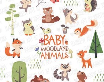 33%OFF - Cute baby woodland animals clip art/Forest illustration/Forest animals clipart/Baby room decoration/baby shower/Children clipart