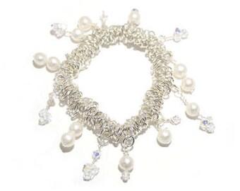 Bridal / Bridesmaid Pearl and Swarovski Crystal Bracelet