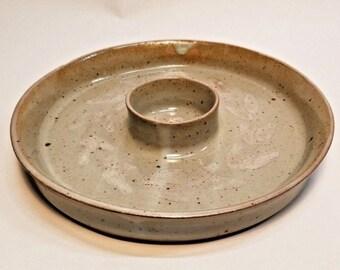 Vintage Leaf-&-Vine Pattern Studio Pottery Chip and Dip Bowl, Signed Dated