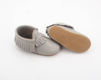 Moccasins / toddler shoes / leather moccs /leather moccasins / hardsole mocs / gray moccs