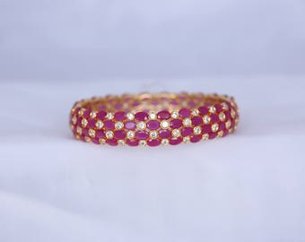 Ruby AD Gold Plated Bangle