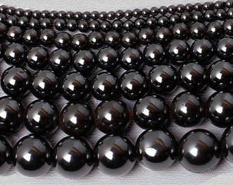 Natural Black Hematite Beads, Black Gemstone beads, Stone Spaser, Beads Round Natural Beads, Magnetic Hematite Beads 4mm 6mm 8mm 10mm 12mm