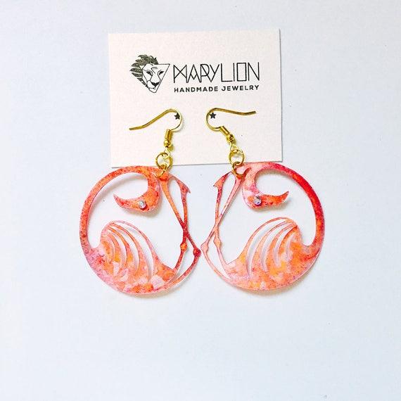 Flamingo tropical earrings - Flamingo drops earrings - Trending jewelry - Flamingo jewelry - Rockabilly Jewelry - Novelty animal earrings