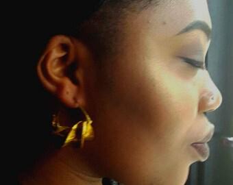 Fulani earrings medium, African brass earrings,  drop tribal earrings, brass dangle earrings, Fula Gold Twist Earrings metal earrings