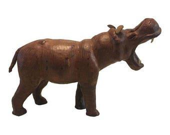 Antique Leather Hippo Figurine