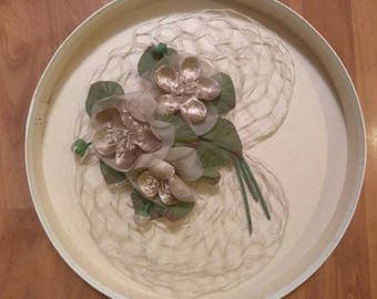 50s Gold Flower Fascinator with Netting