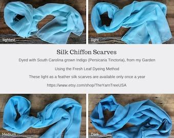 Indigo-dyed Silk Chiffon Scarves