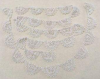 2 Pieces Vintage Tatted Cotton Lace Edging, Lace Trim, total 2 Yards