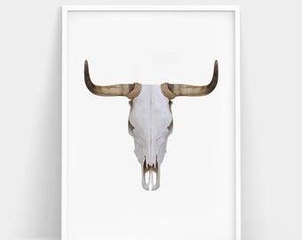 Bull Skull Print, Bull Skull Poster, South Western Decor, Bull Skull Wall Art, Cow Skull, Large Printable Poster, Animal Print, Bull Horns
