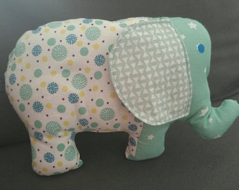 Blue and white padded elephant blankie