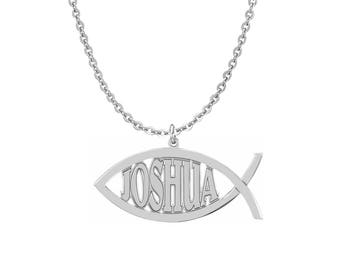 Personalized 925 Sterling Silver Fish Shaped Pendants Initials Necklace Customize Any Initials