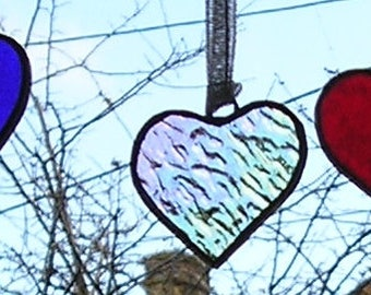 Set of 3 Stained Glass Mini Hearts, Christmas Decoration, Suncatcher, Handmade in England
