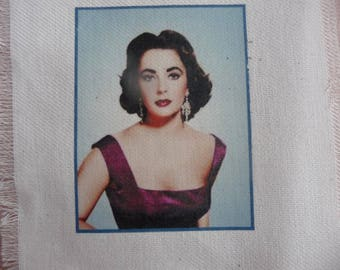 Retro transfer: LIZ TAYLOR Portrait transferred onto cotton fabric thick Ecru color
