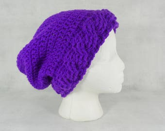 Dark purple slouch hat - Amethyst slouch hat - deep purple - purple hat - dreadlock hat - slouchy beanie hat - hats for women - cable hat