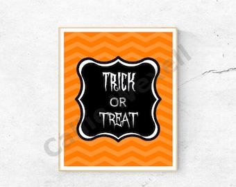 Halloween Wall Art Printable, Halloween Decor, Halloween Wallart, 8x10, Trick or Treat