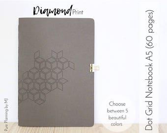 Dot Grid Notebook, Travelers Notebook Insert, Bullet Journal, Bullet Journal Notebook, A5 Notebook, Midori Insert, Geometric Pattern