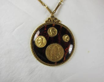 "Vintage Coro Napoleon Coin Medallion Tortoise Shell Gold-tone Coin Necklace 23"" #220"
