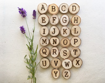 Uppercase Alphabet tree slices / capital letters / Reggio / loose parts / Montessori / tree cookies / nature in the classroom / Kindergarten