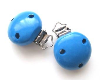 Pacifier clip-Royal blue wooden clip