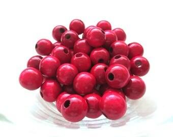25 wooden pacifier 12mm - Bordeaux beads