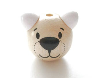 Wooden 3D Teddy bear head bead - natural & white