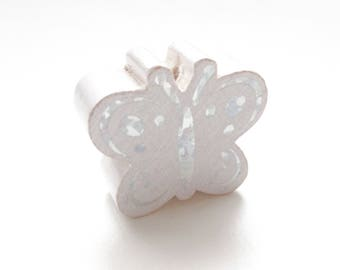 Butterfly Glitter - white wooden bead
