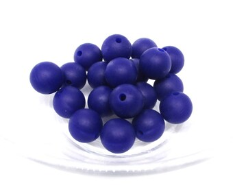 10 12mm - Navy Blue Silicone beads