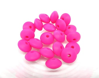 10 beads flat Silicone - Fuchsia
