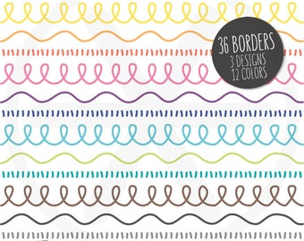 Borders Clipart. Colorful Doodle Loop Digital Borders Clip Art. Hand Drawn Loopy Images. Commercial Use - PNG Instant Download