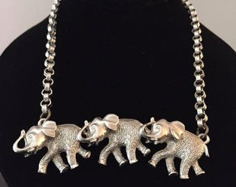 Vintage Castlecliff Silver Elephant Necklace//Bold Runway Necklace//Vintage Statement Necklace//Signed Costume Jewelry//Figural Jewelry
