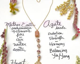 Necklace Handmade Agate birthday boho jewelry  /