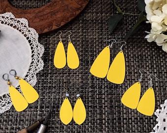 Solid Floral Petal Shape Earrings - Sunshine Yellow Earrings - Petals Earrings - Flower Petal Earrings - Handmade Earrings