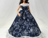 """Southern Belle Dress-11.5"""" Doll Clothes-Southern Dress-Fashion Doll Gown-Fancy Doll Dress-Handmade Dress-Gifts for Girls-Birthday Gift"""