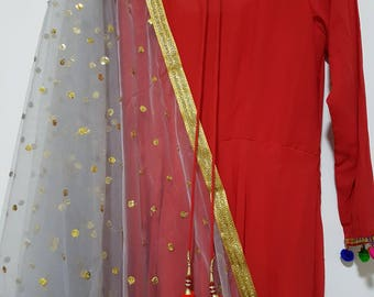 Grey Light Gold Sequins Embroidered net dupatta (scarf), bridal wear, party wear, suit, lehenga, anarkali