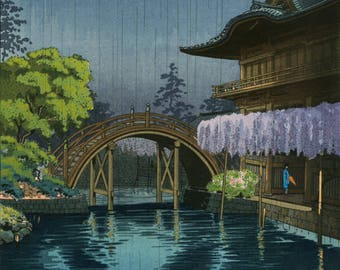"Japanese Art Print ""Kameido Tenmangu Shrine"" by Tsuchiya Koitsu, woodblock print reproduction, asian art, Japan, wisteria, bridge, rain"