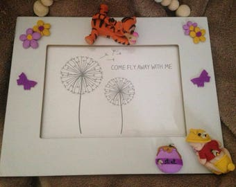 polymer clay baby Pooh/Tigger theme picture frame