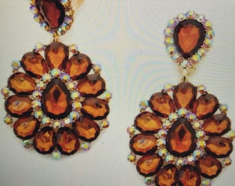 Golden Topaz Color  Crystal Chandelier Clip Earrings