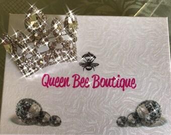 Crystal Crown Pin Brooch