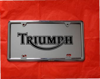 TRIUMPH Laser Engraved Mirror Acrylic License Plate, FREE Ship! Free Protective  Cover, Nuts and Bolts
