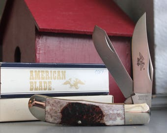 American Blade AB-33 2-Blade Pocket Knife #051 with Genuine Sandbar Handle